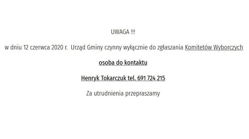 Informacja odnośnie pracy urzędu Gminy w dniu 12.06.2020r
